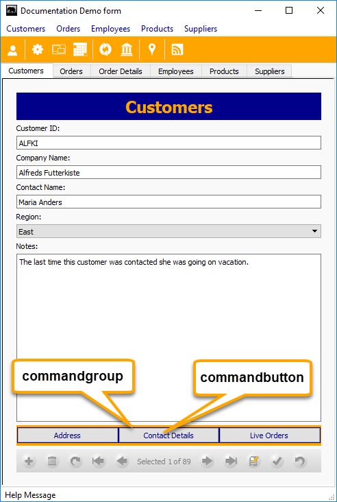 Commandgroup, Commandbutton